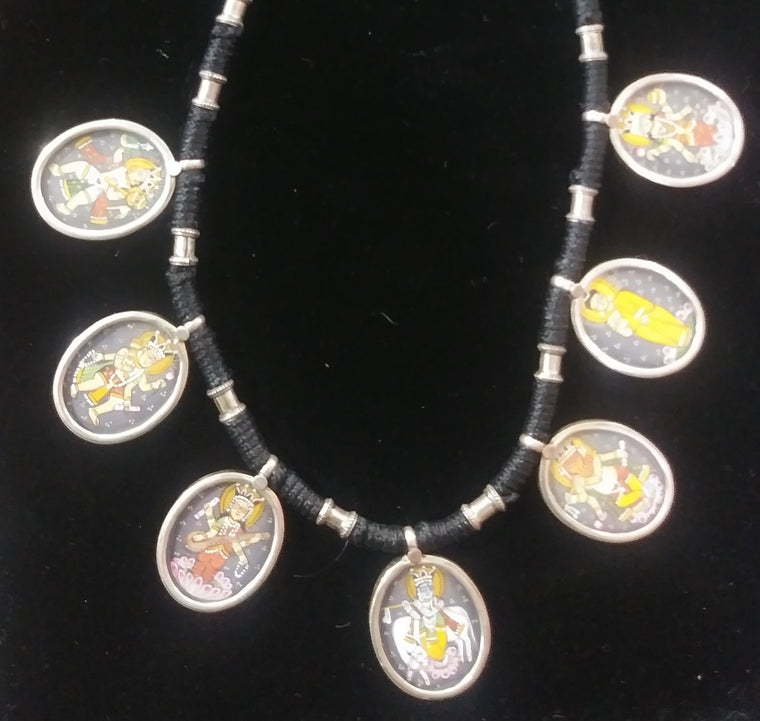 Sterling Silver Hand Painted Deity Necklace