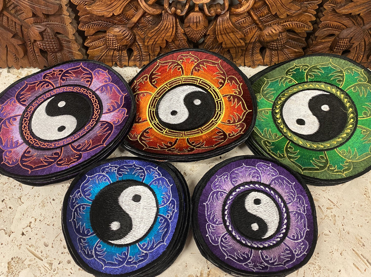 Handmade Yin & Yang Mandala Embroidered Patches from Nepal