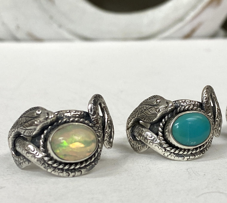Sterling Silver Snake Rings  Premium- Available in Opal & Turquoise