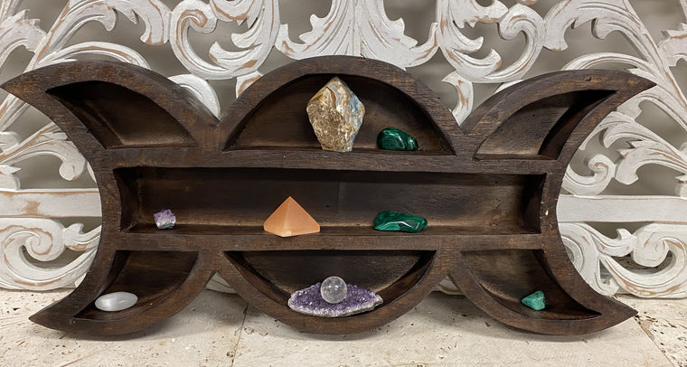 Arbesia Wood Phases of the Moon Wall shelf for your Crystal Collection!
