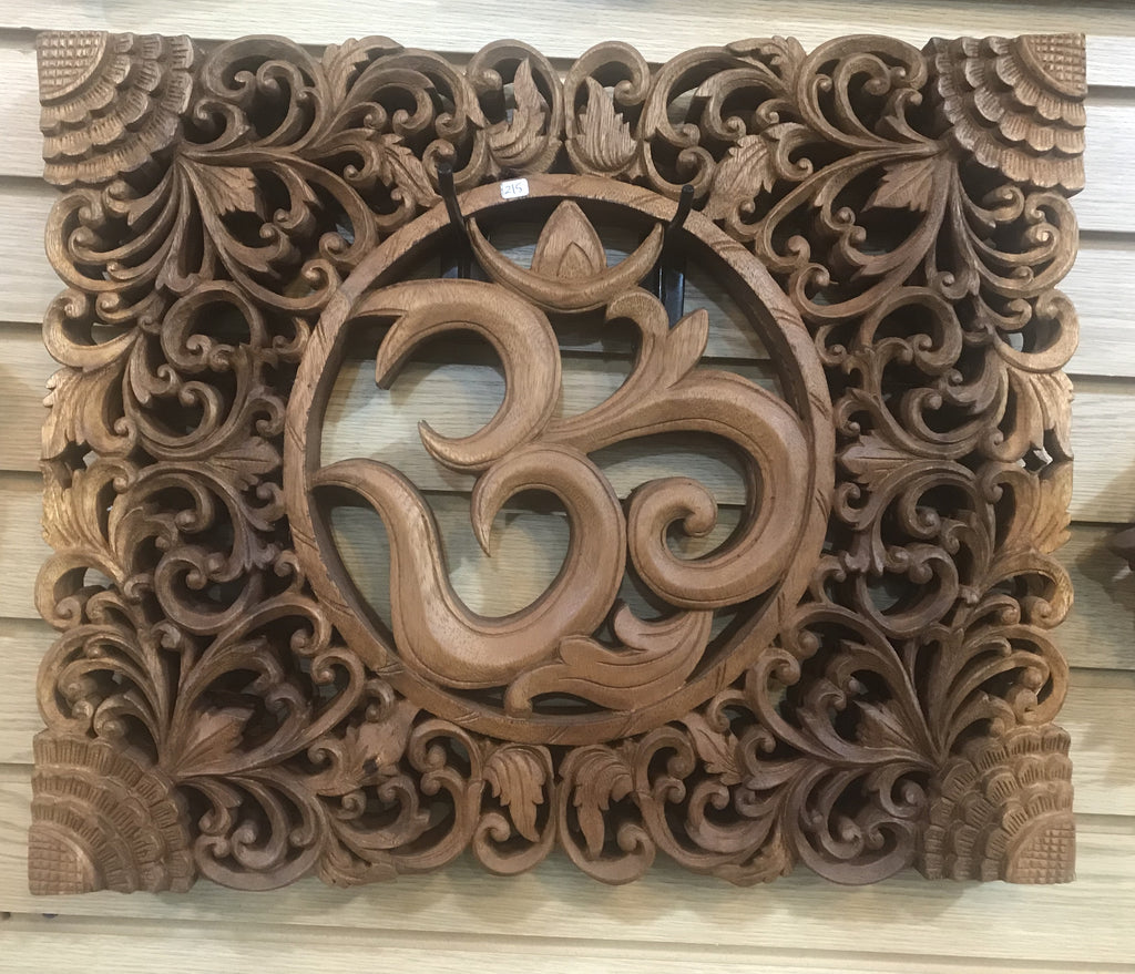 "Hand Carved Om Mandala wall hanging 16"" x 19"""