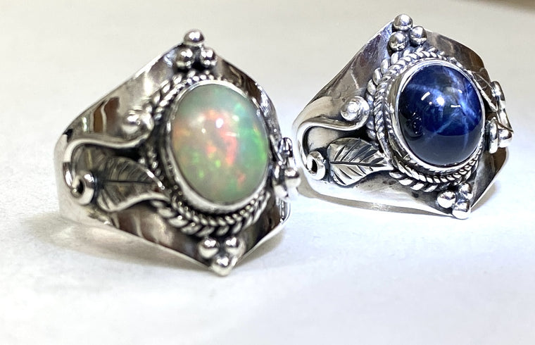 Sterling Silver Vine and Leaf ring - Available in  Star Sapphire & Ethiopian Opal Sizes 6-13