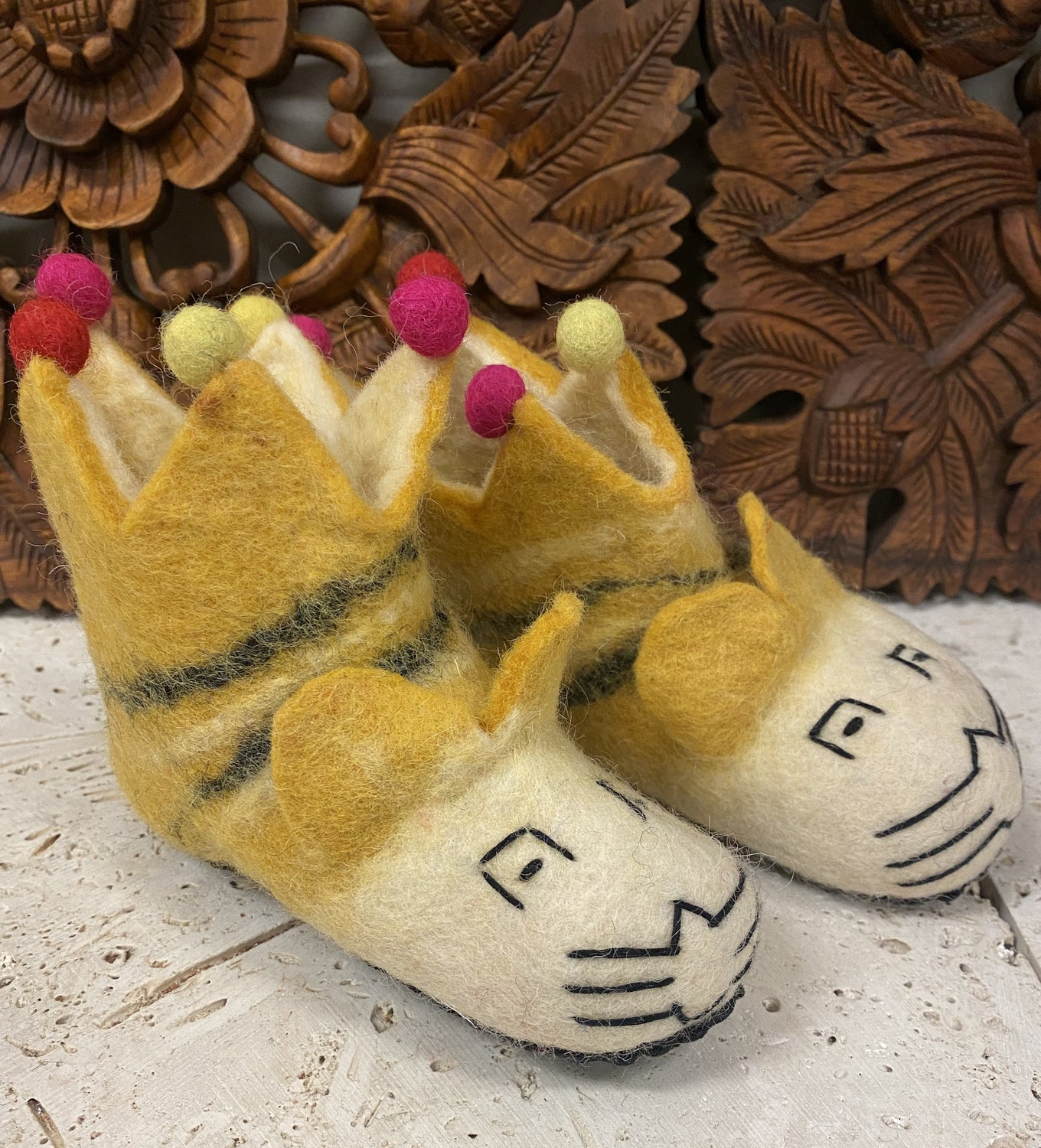 Hand felted Wool King Tiger Childrens Slippers Shoes - Supports Women in Nepal