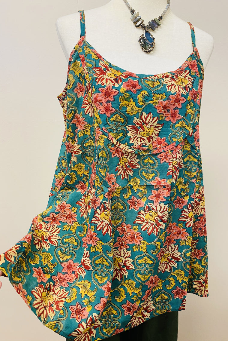 Hand Block Print Cotton Tank Top with Pockets! - 4 Patterns Available