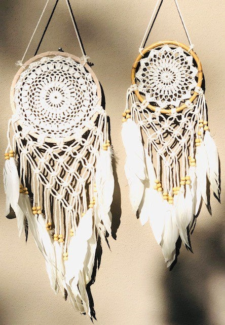 Crochet Dream Catcher with Swan Feathers