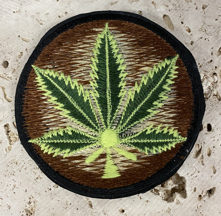 Handmade Embroidered Cannabis Leaf Patches from Nepal 3