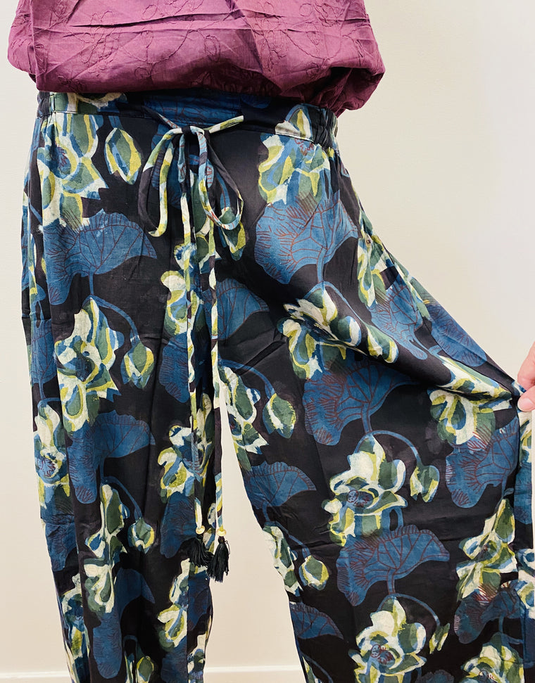 Hand Block Print Cotton Wide Leg Drawstring Pants - 5 Patterns Available