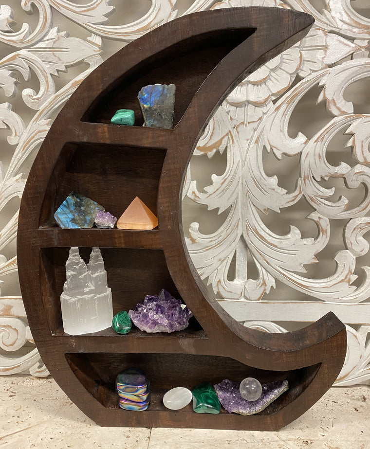Arbesia Wood Cresent Moon Standing table display for your Crystal Collection!