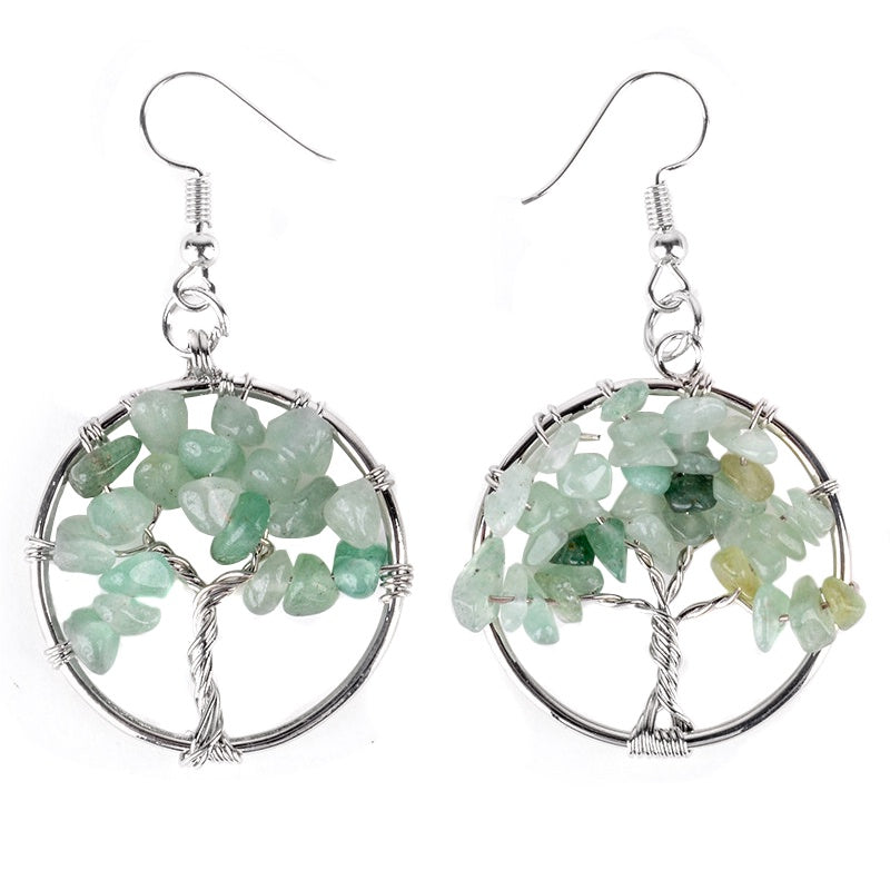 Tree of Life Wire Wrapped Gemstone Earrings - Available in 10 Stones