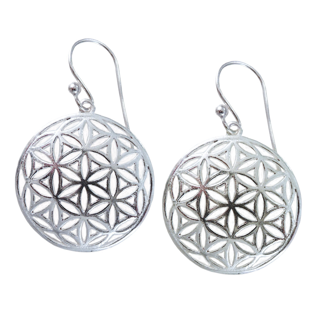 Handmade Sterling Silver Flower of Life Earrings