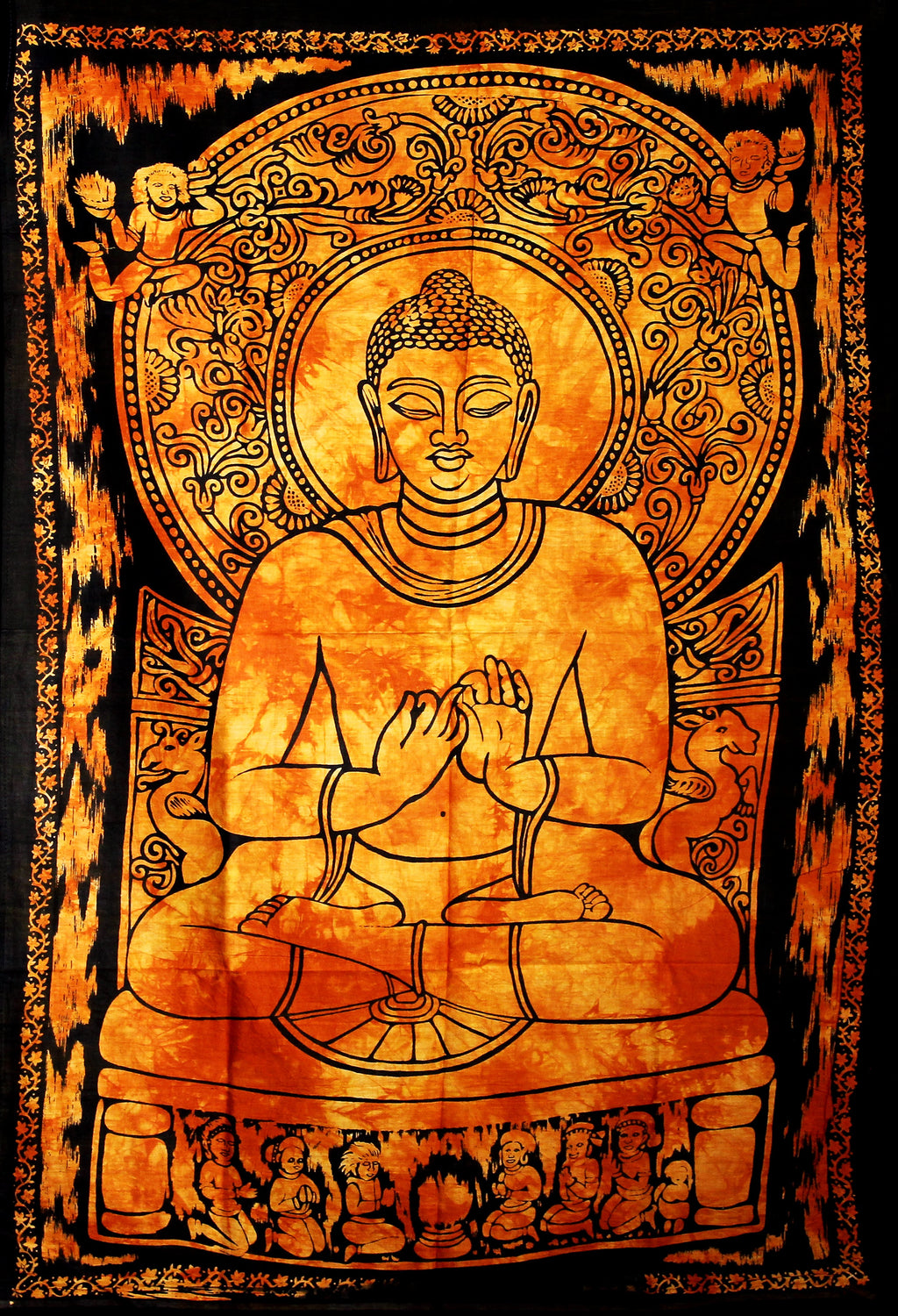 Hand printed Fabric Posters Mini Buddha Tapestry Wall Hanging - Available in 5 Colors