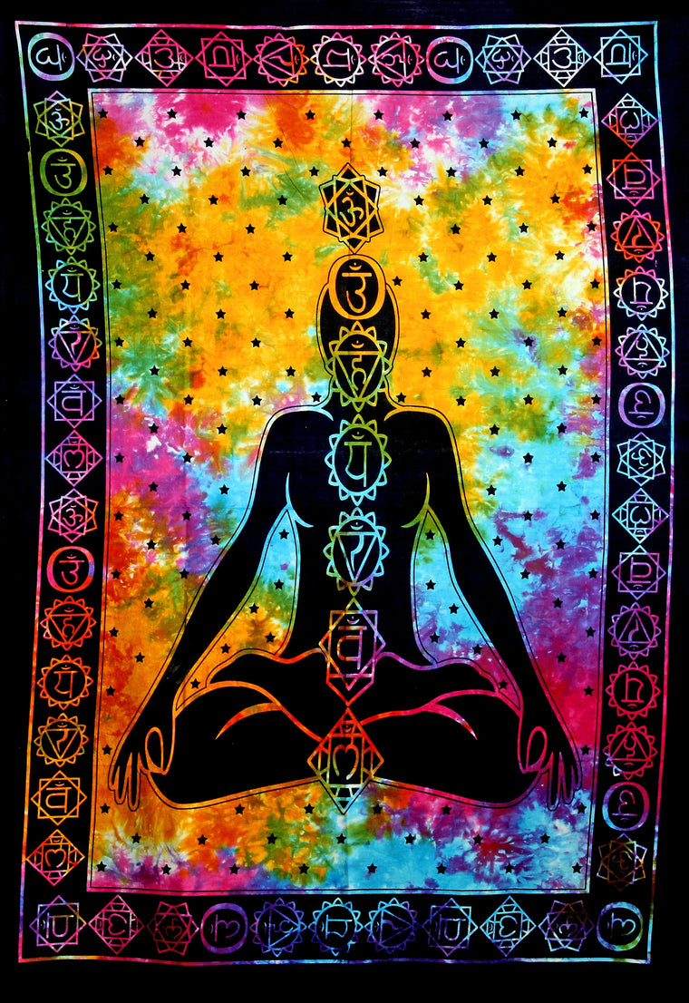 Hand printed Mini Chakra Meditation Tapestries Wall Hanging - Available in 3 Colors