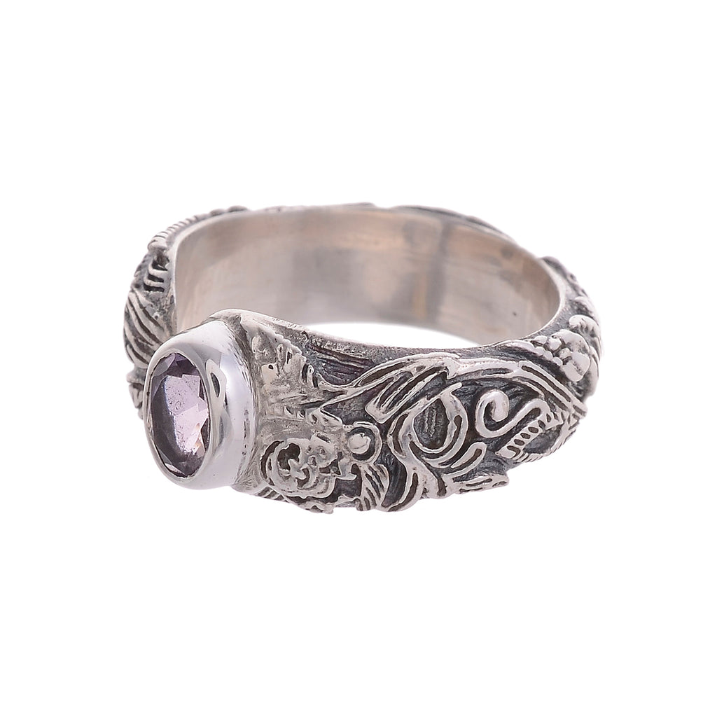 Sterling Silver Flower & Vine Open Textured Gemstone Ring Large