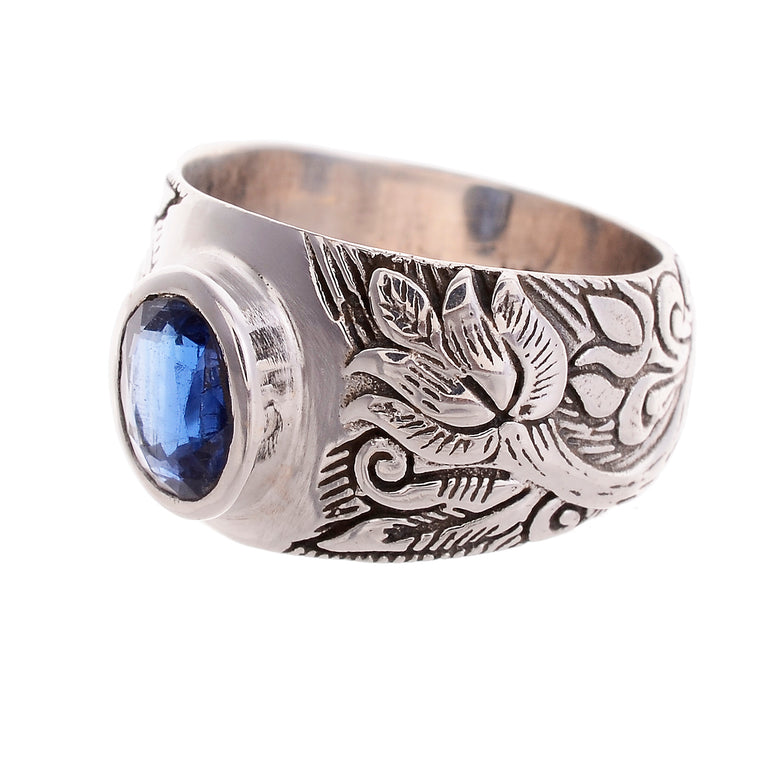 Sterling Silver Hand Carved Lotus Flower Ring