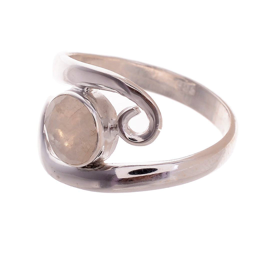 Sterling Silver double spiral Stone Ring