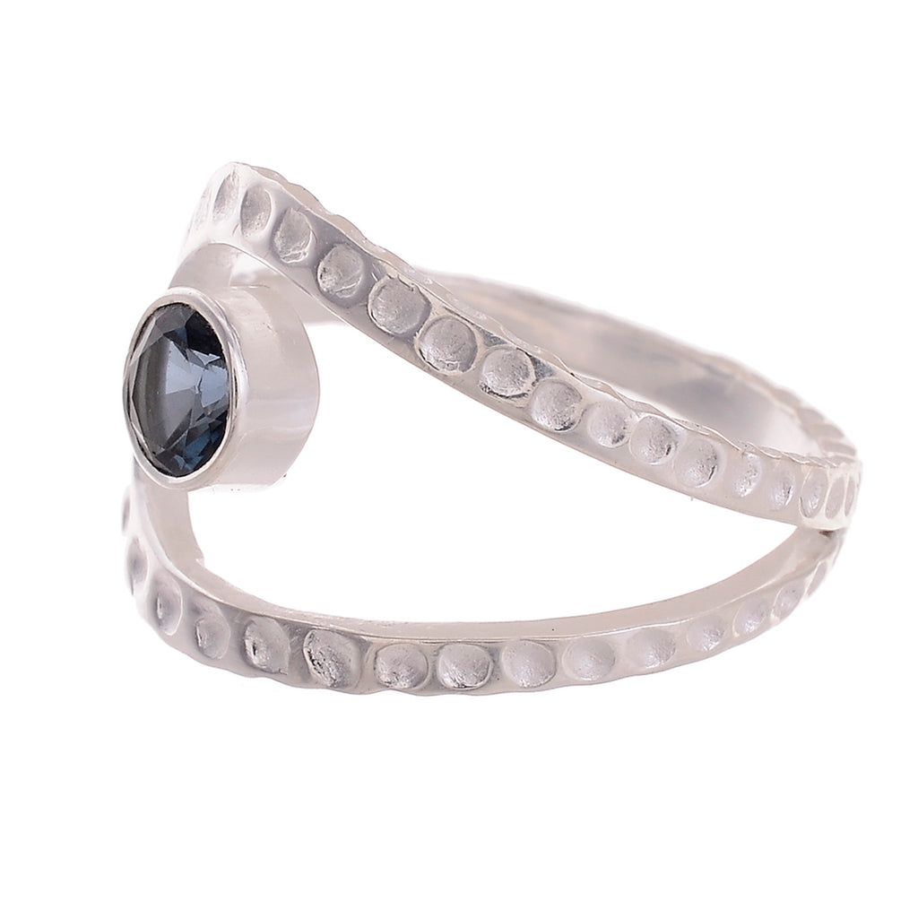 Sterling Silver Hammered Gemstone Laso Ring - Available in 16 stone