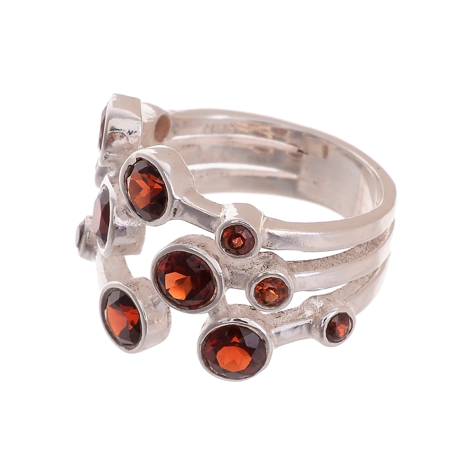 Sterling Silver 12 Stone Gemstone Ring - Available in 7 stones