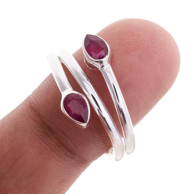 Sterling Silver Double Stone Wrap Ring - 11 Stones Available
