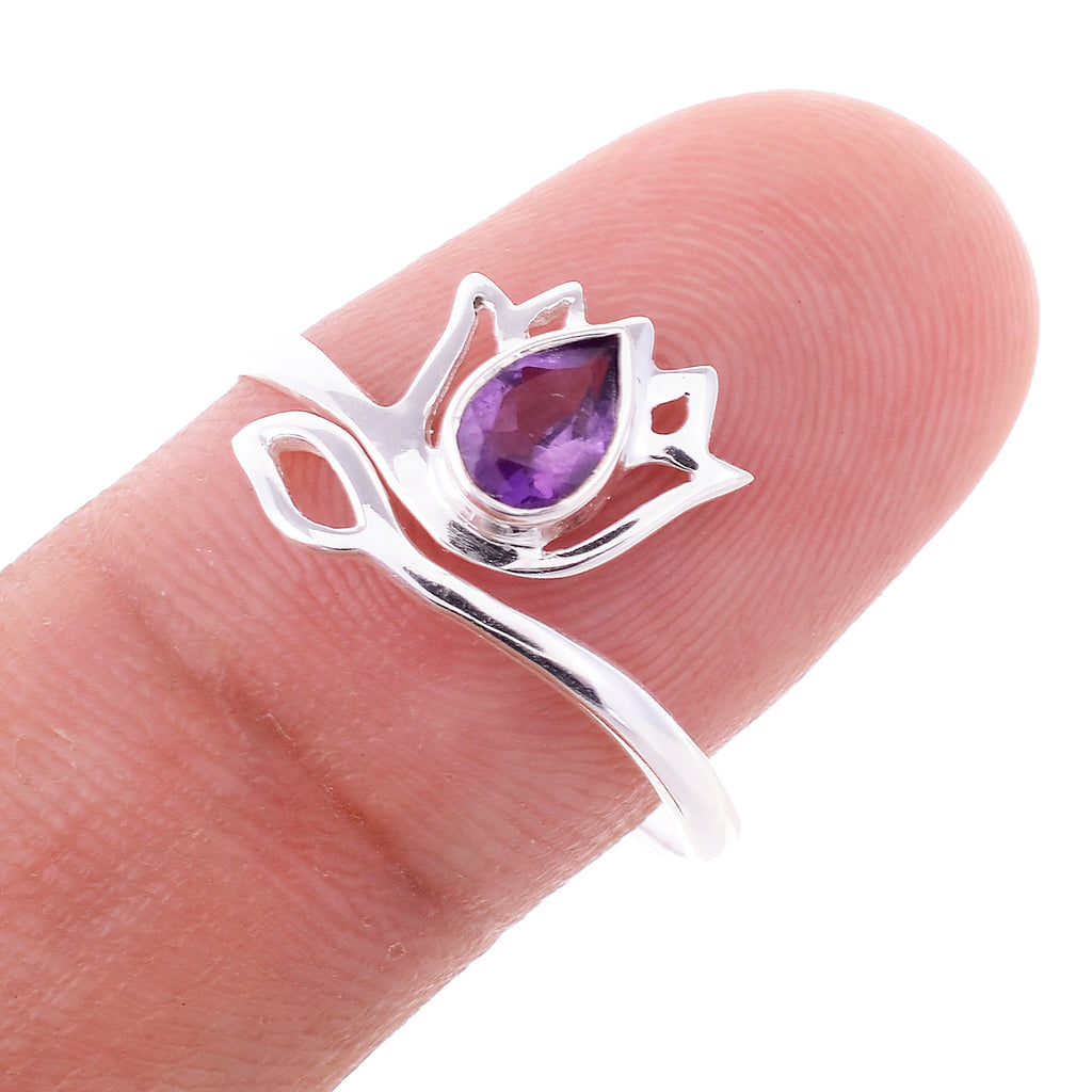 Sterling Silver Lotus Flower Ring - Available in 11 Stones