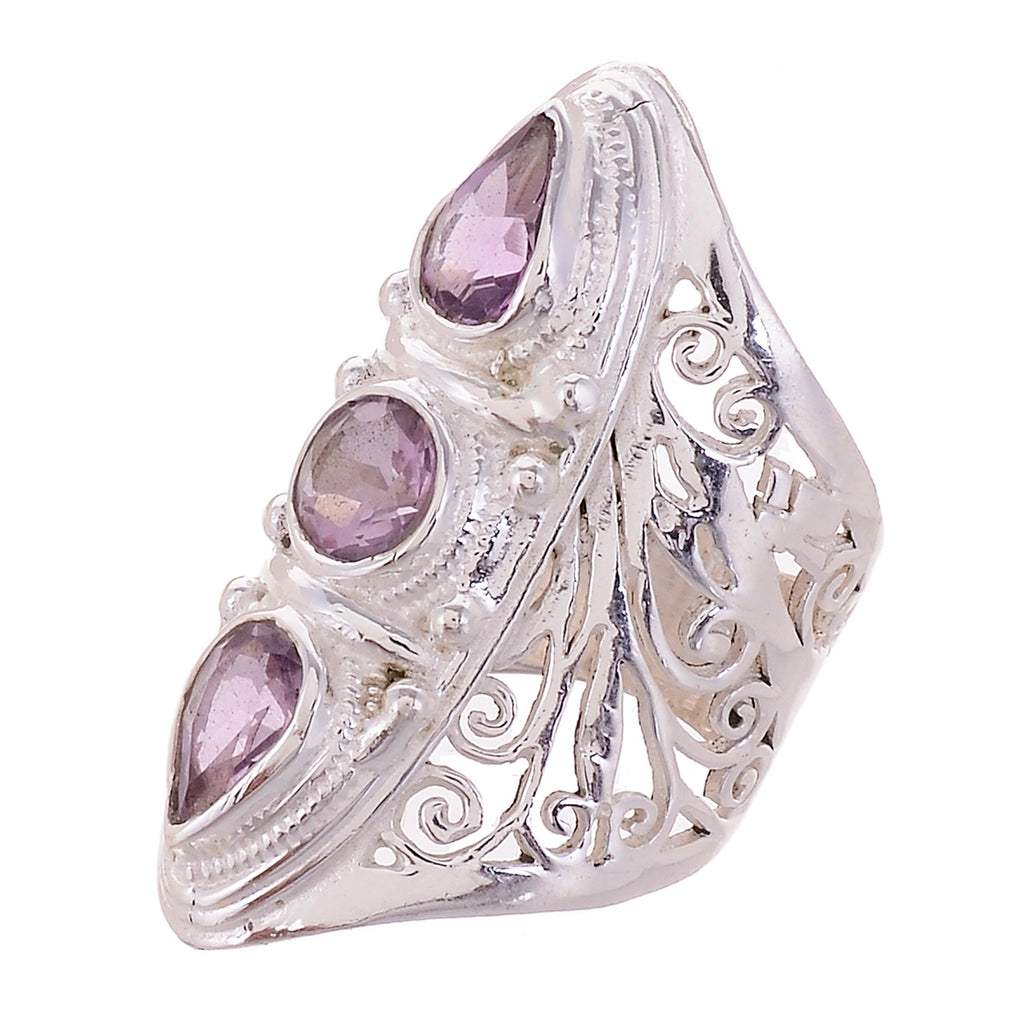 Sterling Silver Hand Cut Jayli Work 3 stone Ring _ Available in 10 Stones