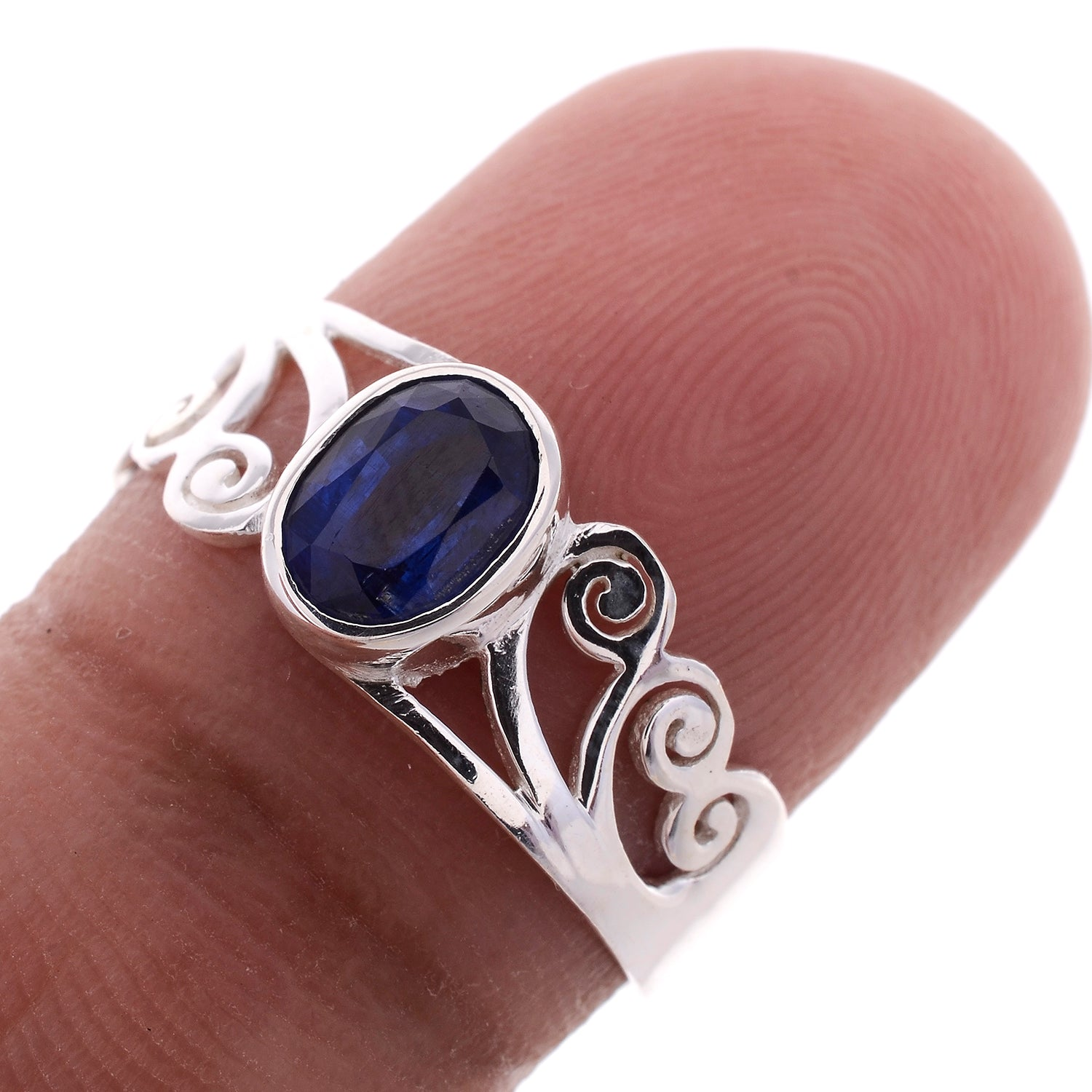 Sterling Silver Jayli Hand Cut Spiral Ring-Available in 15 Stones