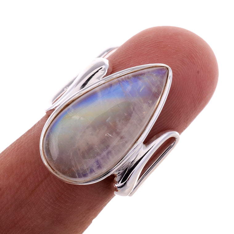 Sterling SilverZig Zag Wire Band Gemstone Ring - Available in 6 Stones