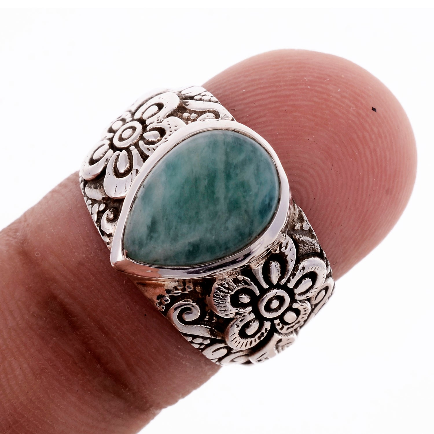 Sterling Silver Hand Carved Flower Gemstone Ring _ Available in 9 Stones