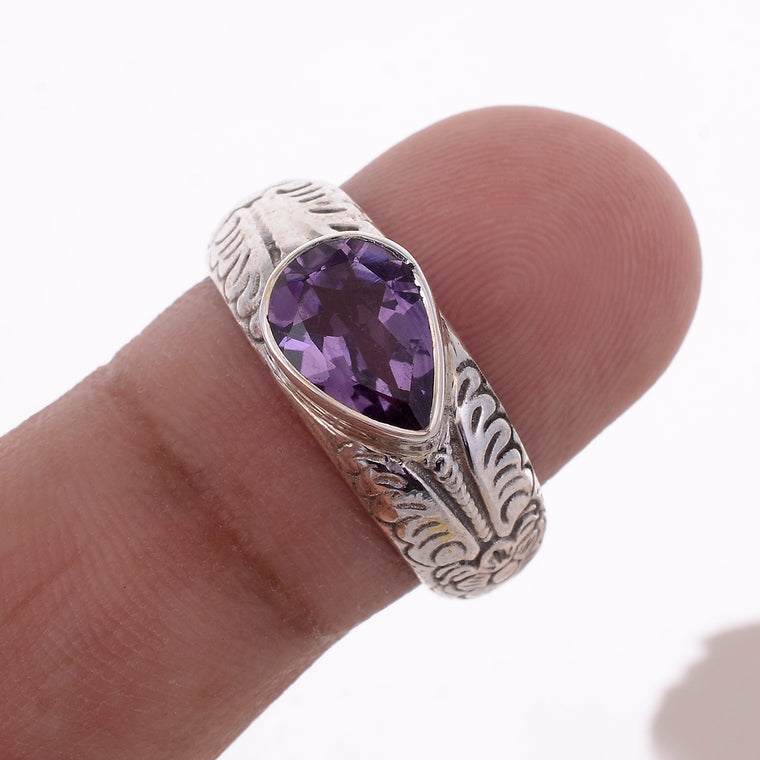 Sterling Silver Hand carved Stone Ring