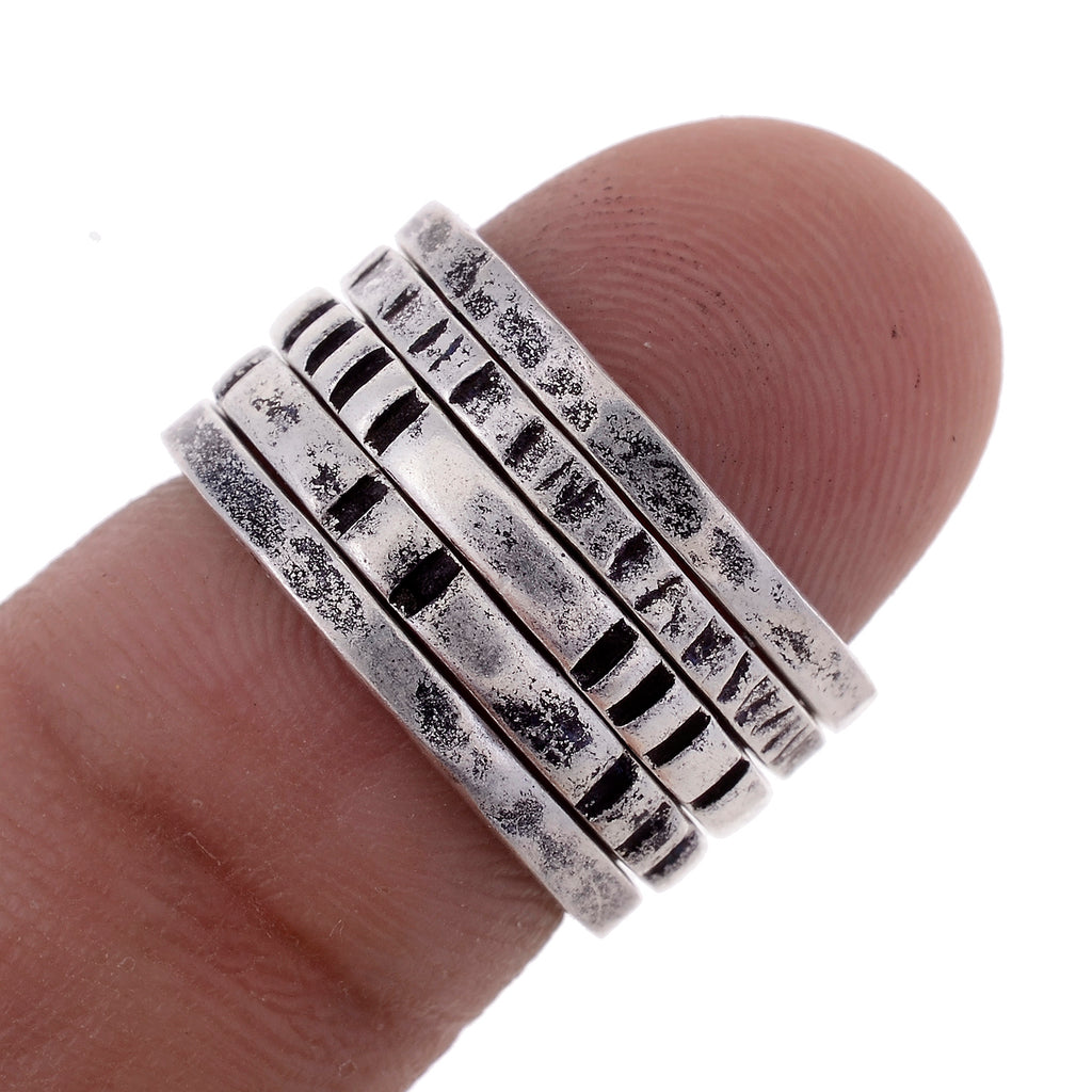 Sterling Silver Hand Hammered Stack Rings -Sizes 5-10