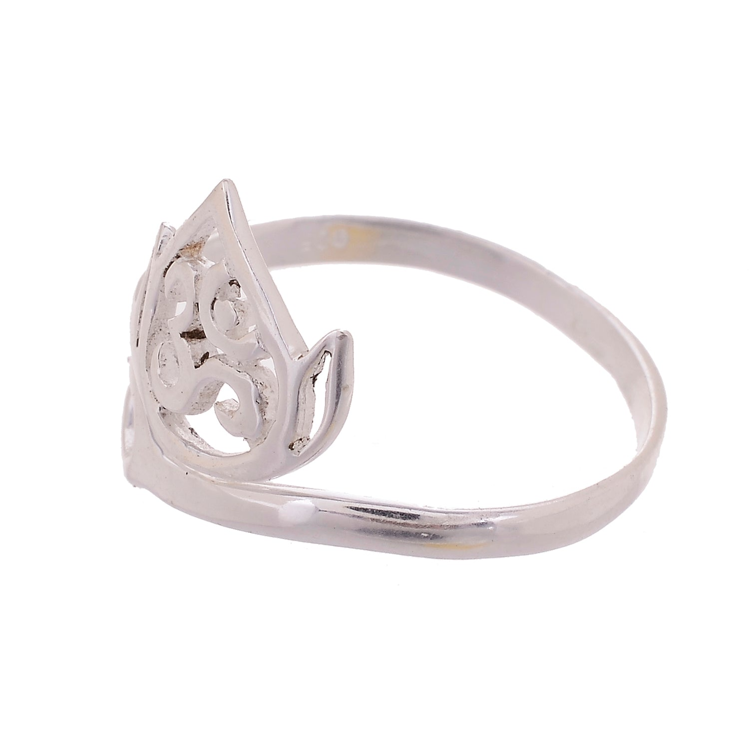 Sterling Silver Om Lotus Ring