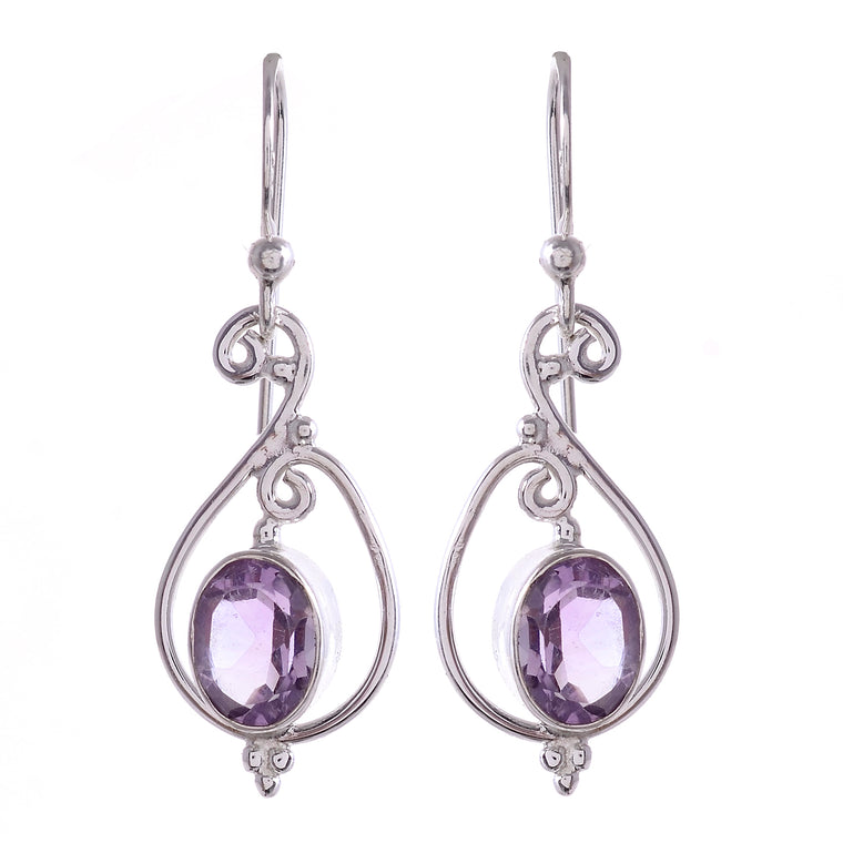Sterling Silver Spiral Gemstone Earrings _ Available in 9 Stones