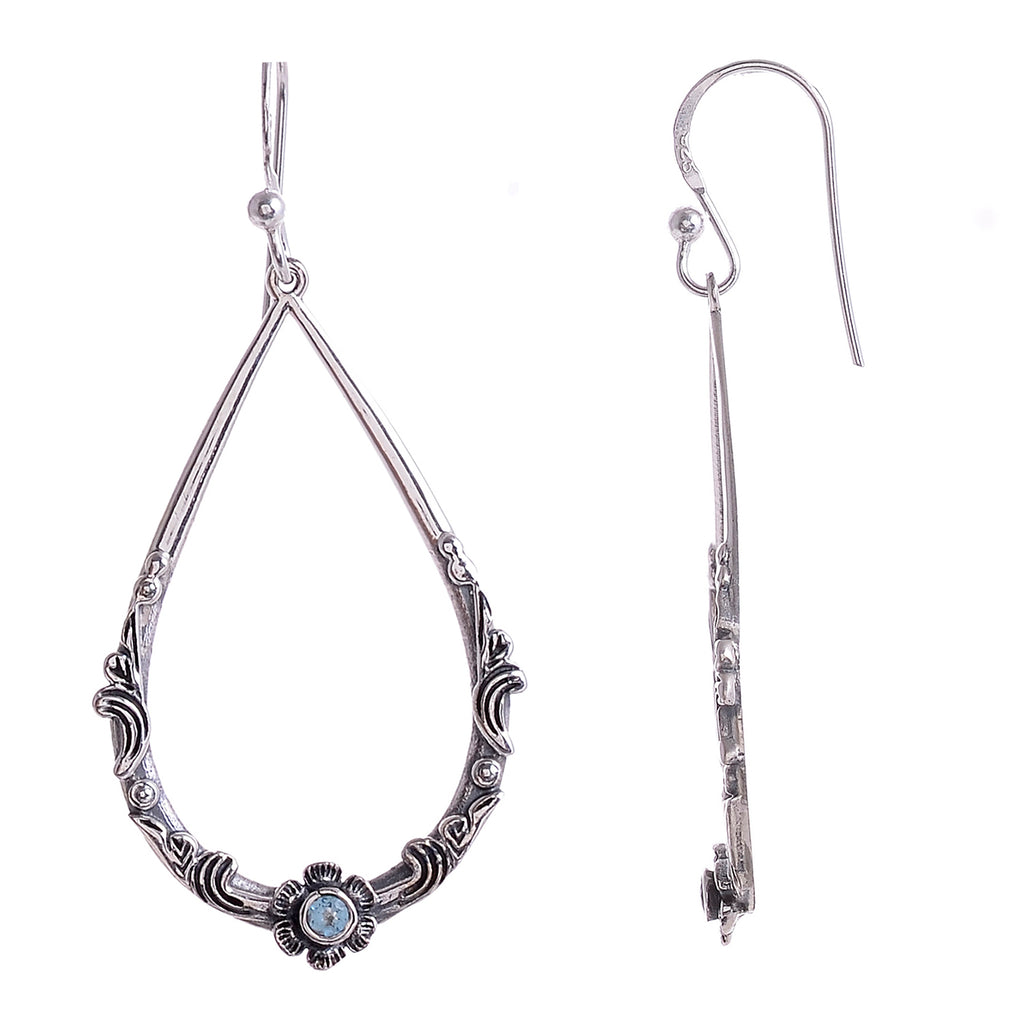 Sterling Silver Hand Carved Flower & Vine  Gemstone Earrings - Available in 9 Stones