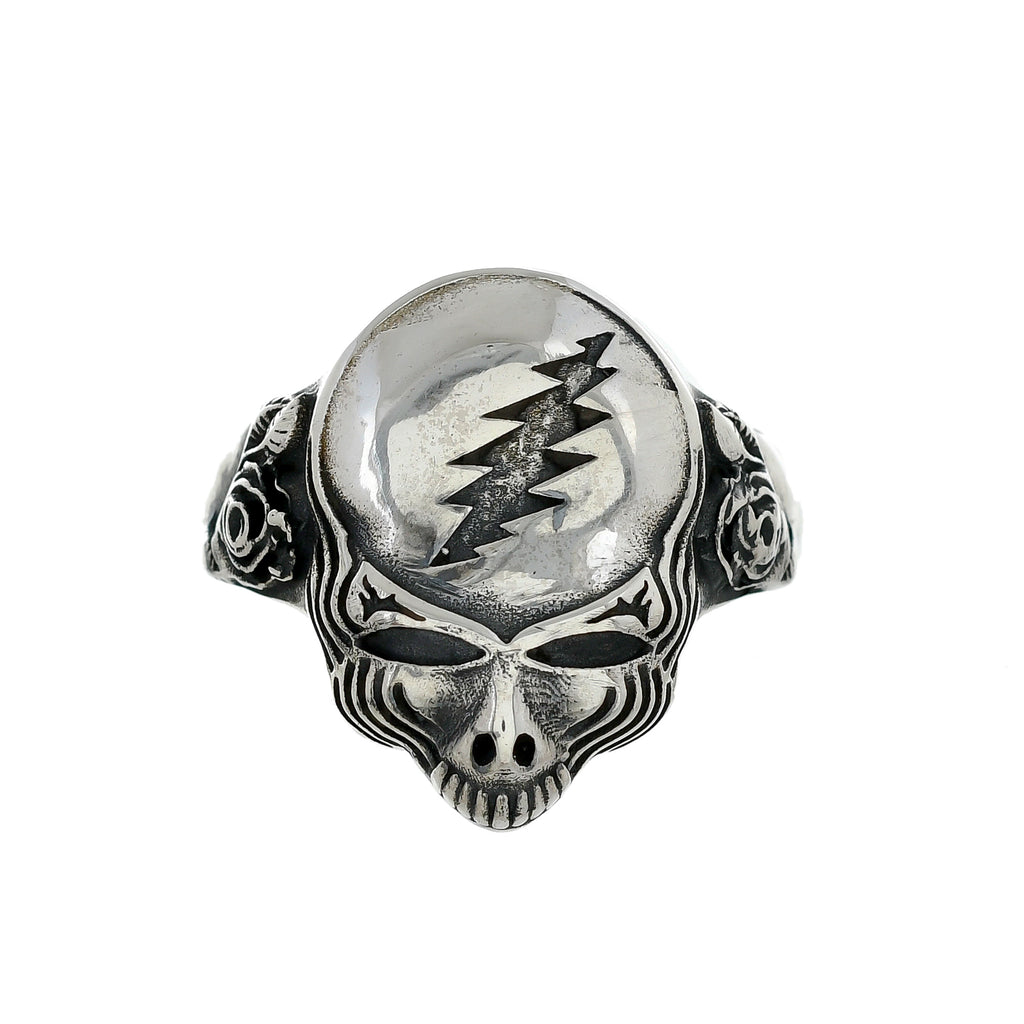 Sterling Silver Grateful Dead Steal Your Face Ring with Roses