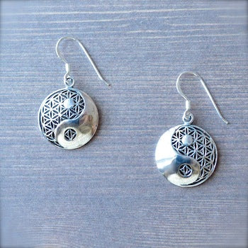 Handmade Sterling Silver Yin and Yang over Flower of life Earrings
