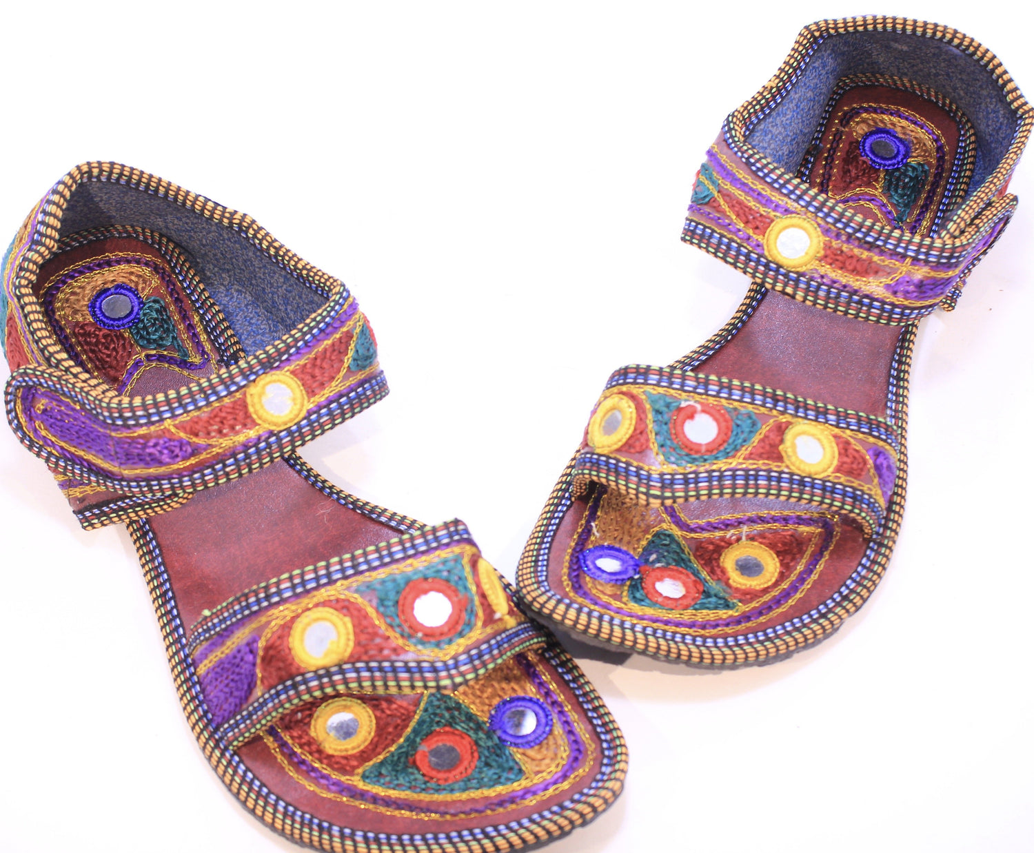 Hand Embroidered Sandals from India.
