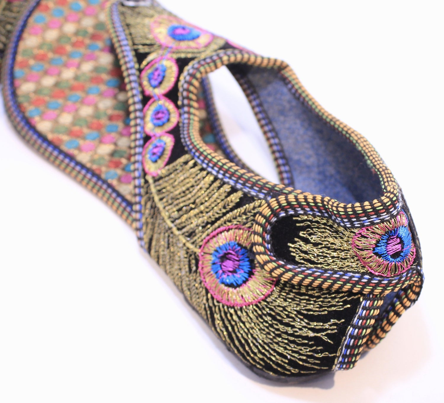 Hand Embroidered Peacock Sandals