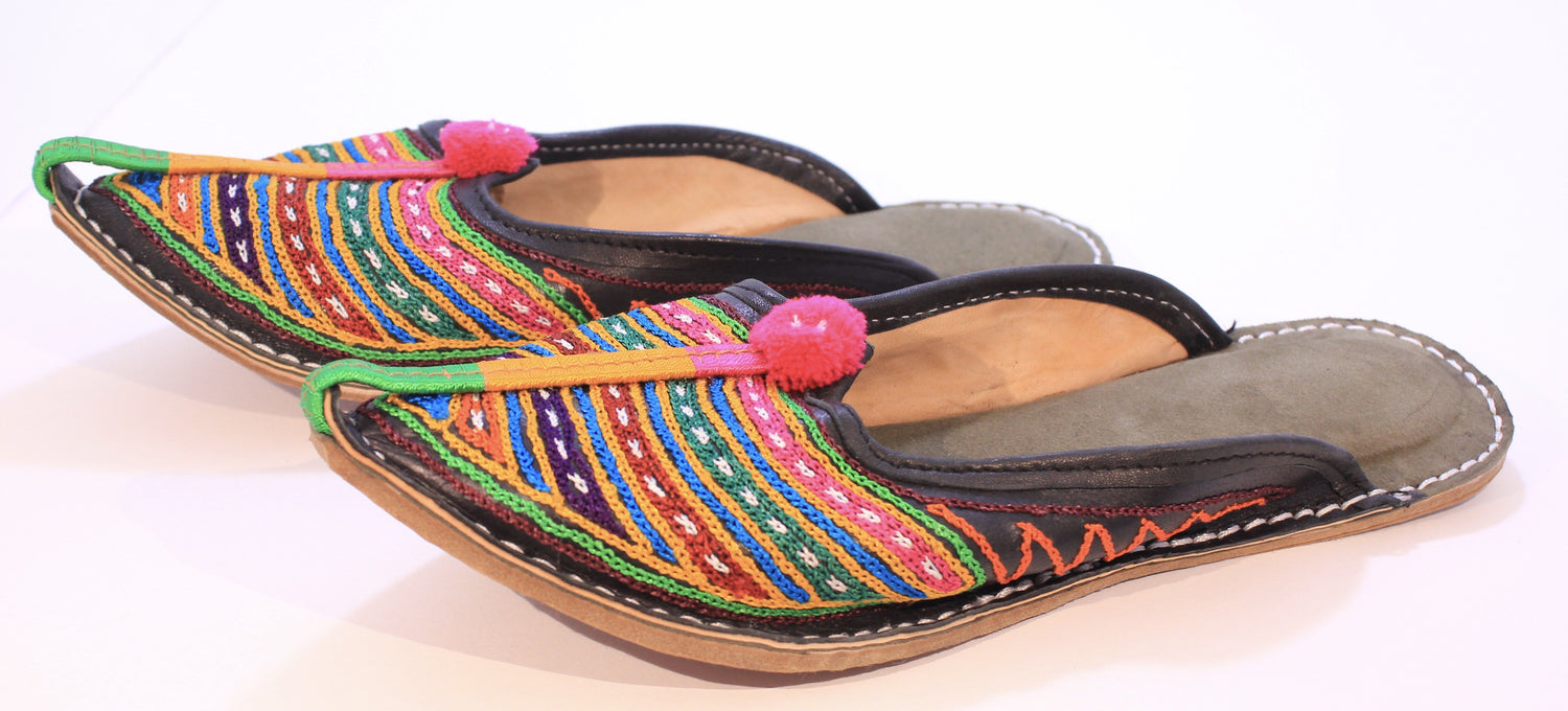 Hand Embroidered Camel Leather Indian Slip on Shoes