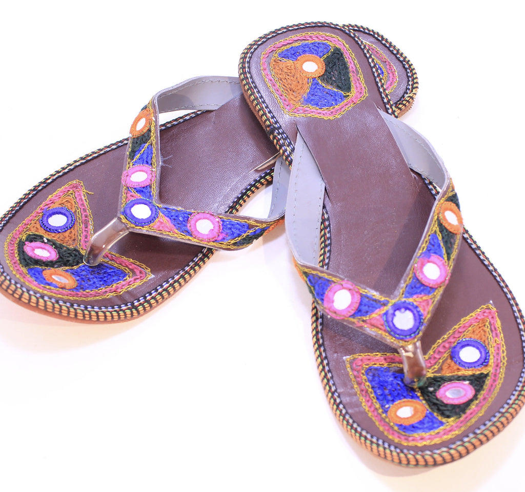 Hand Embroidered Camel Leather Sandals