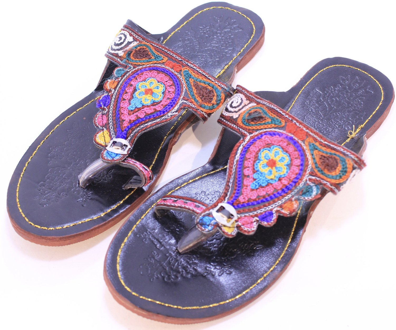 Fancy Hand Embroidered Paisley Leather Sandals