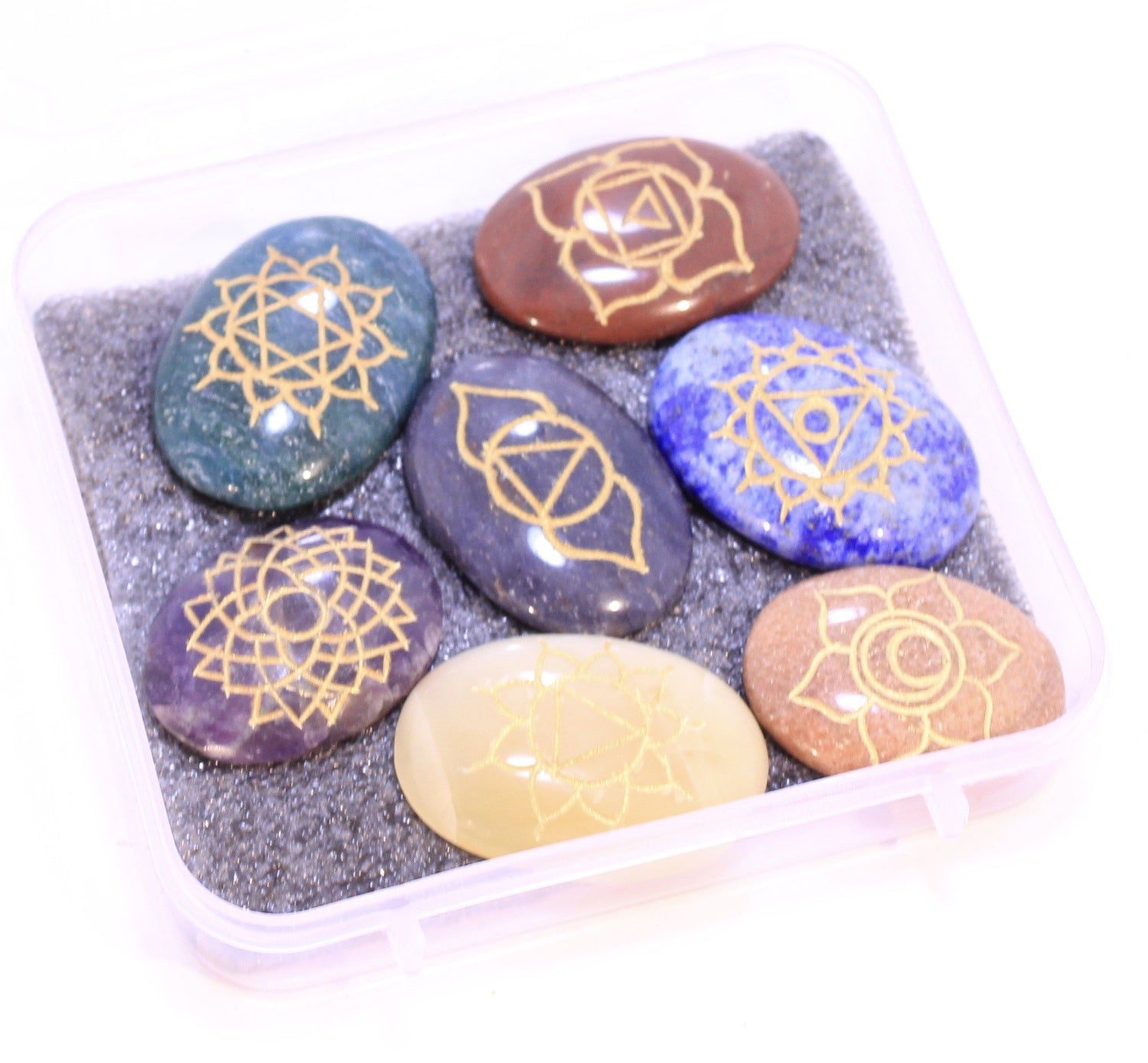 Set of 7 Hand Engraved Chakra Symbol Stones