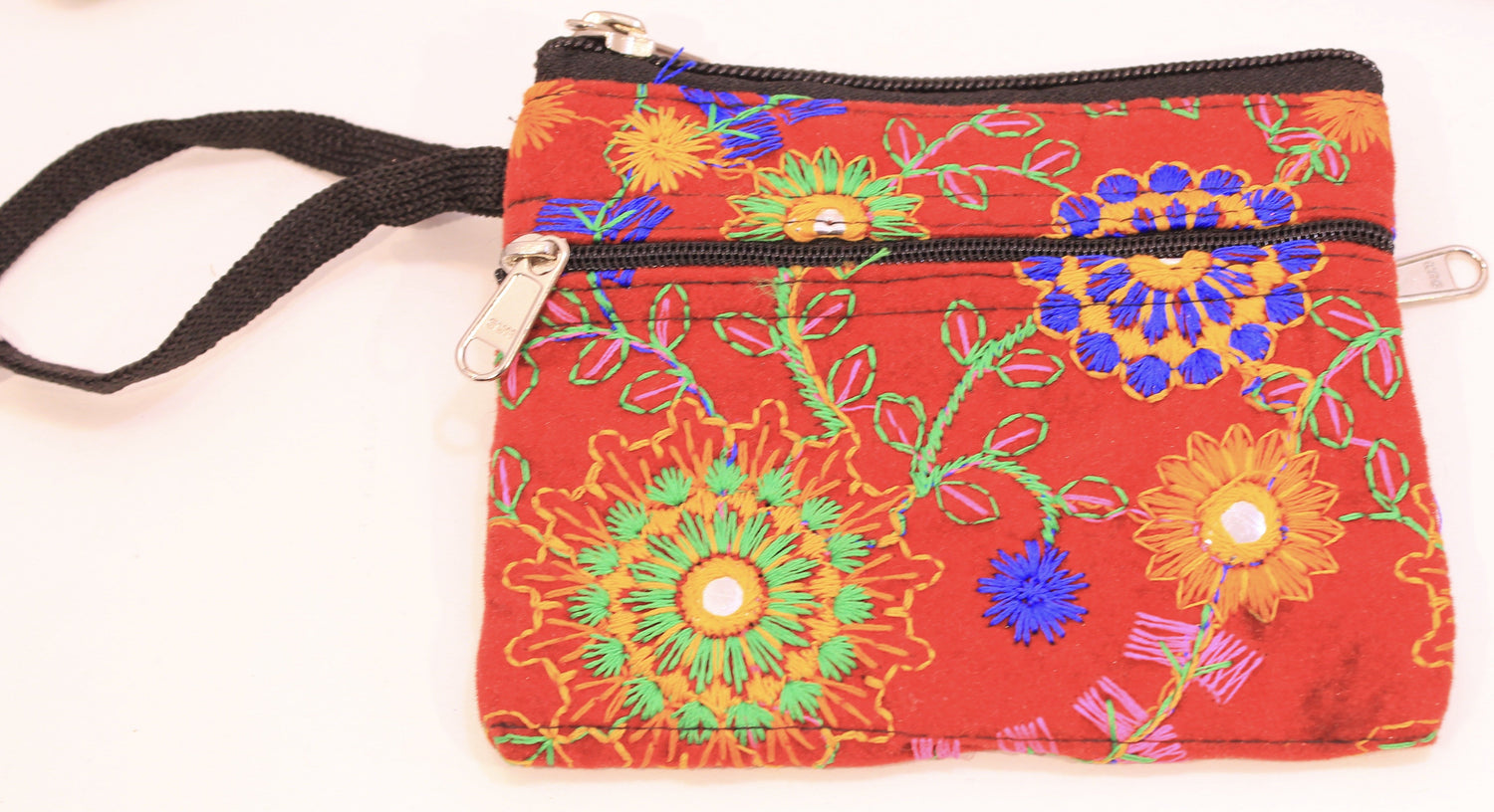 Paisley Embroidered Coin Purses with multi compartments