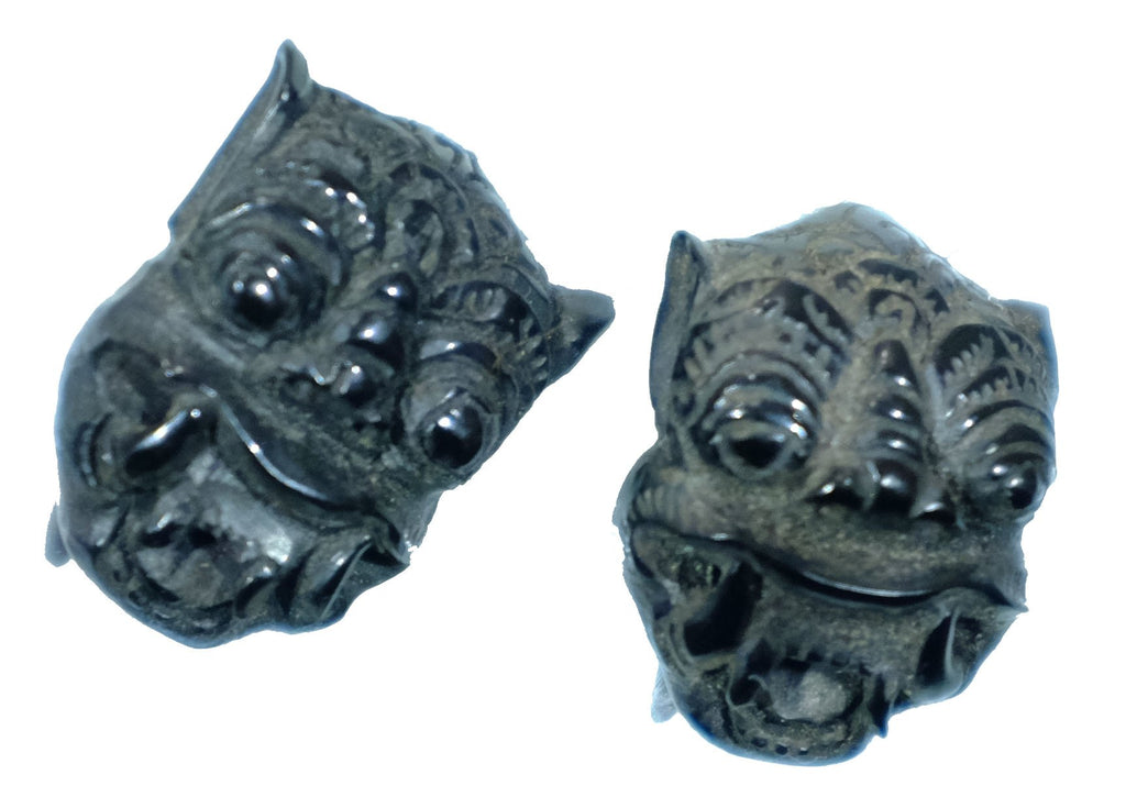 Beautifully Detailed Hand Carved Horn Barong Gauged Earrings