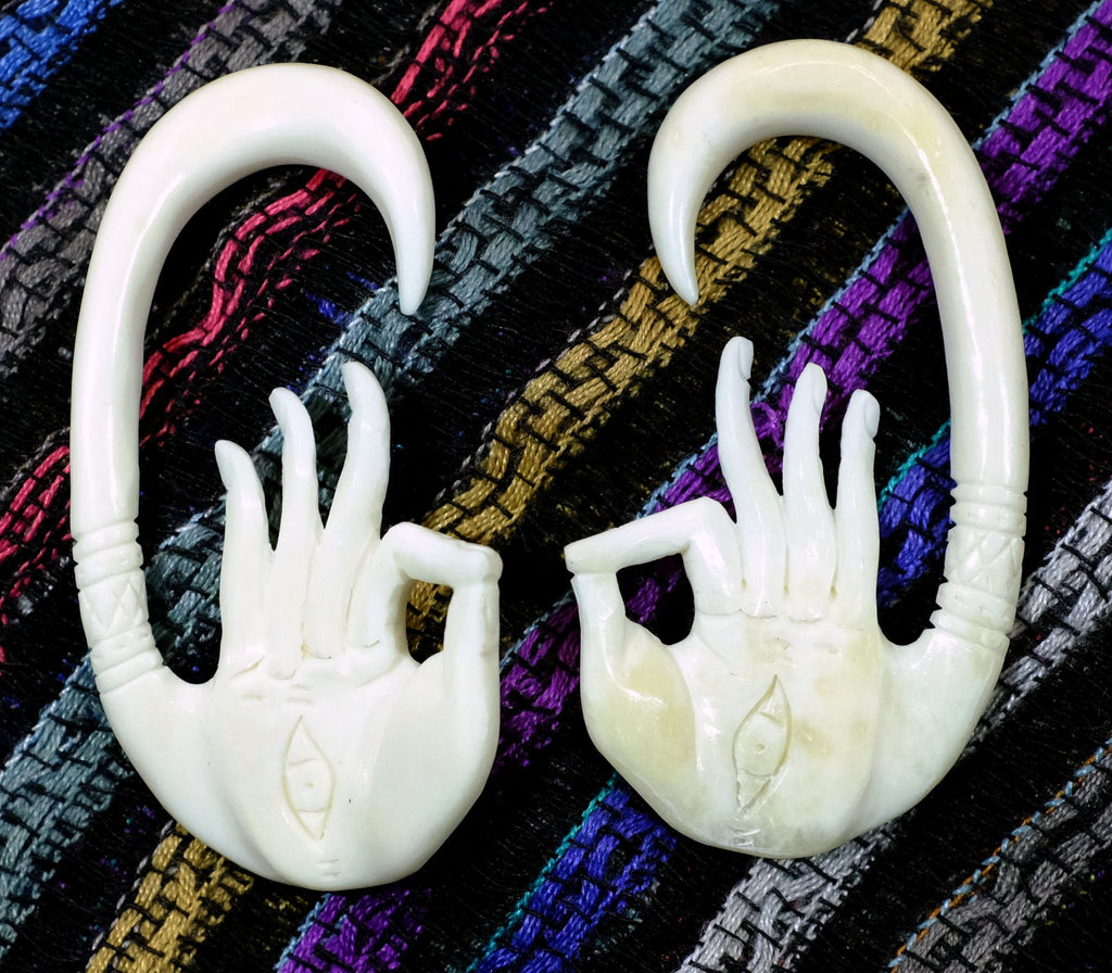 Beautifully Detailed Hand Carved Bone Mudra Hands Gauged Earrings