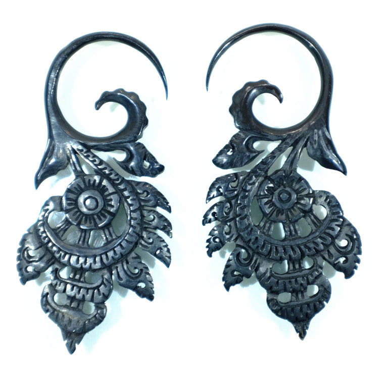 Beautifully Detailed Hand Carved Horn Flower Gauged Earrings