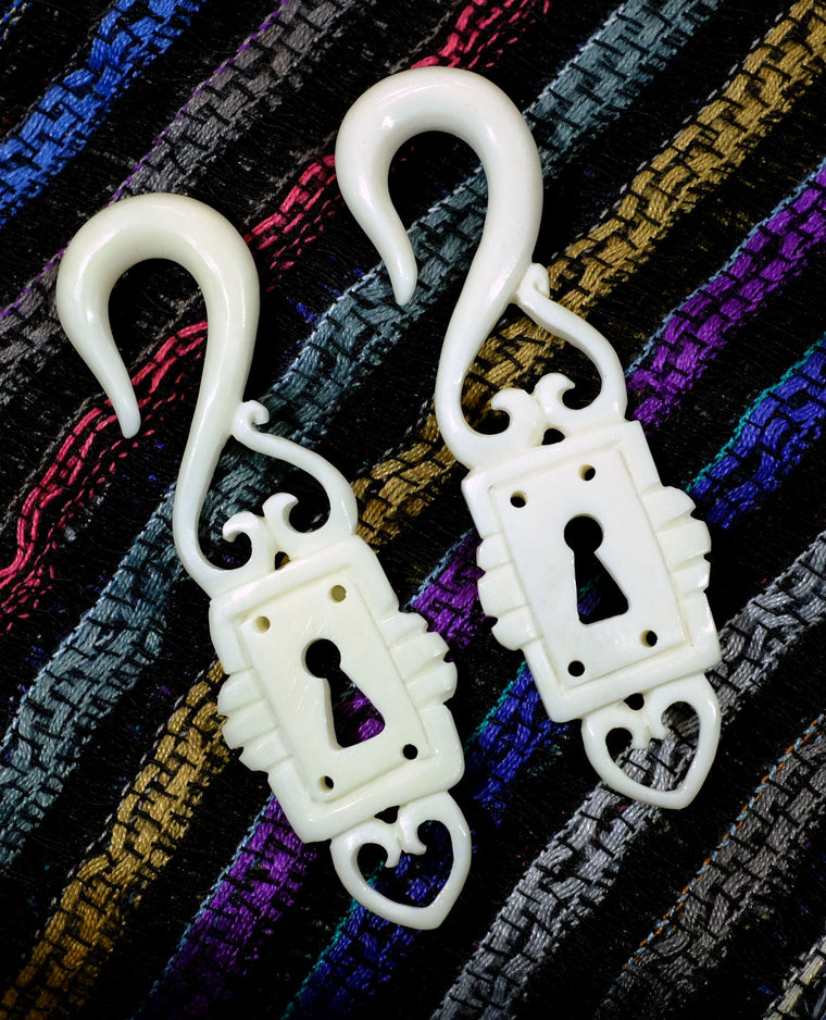 Beautifully Detailed Hand Carved Bone Lock and Key Gauged Earrings