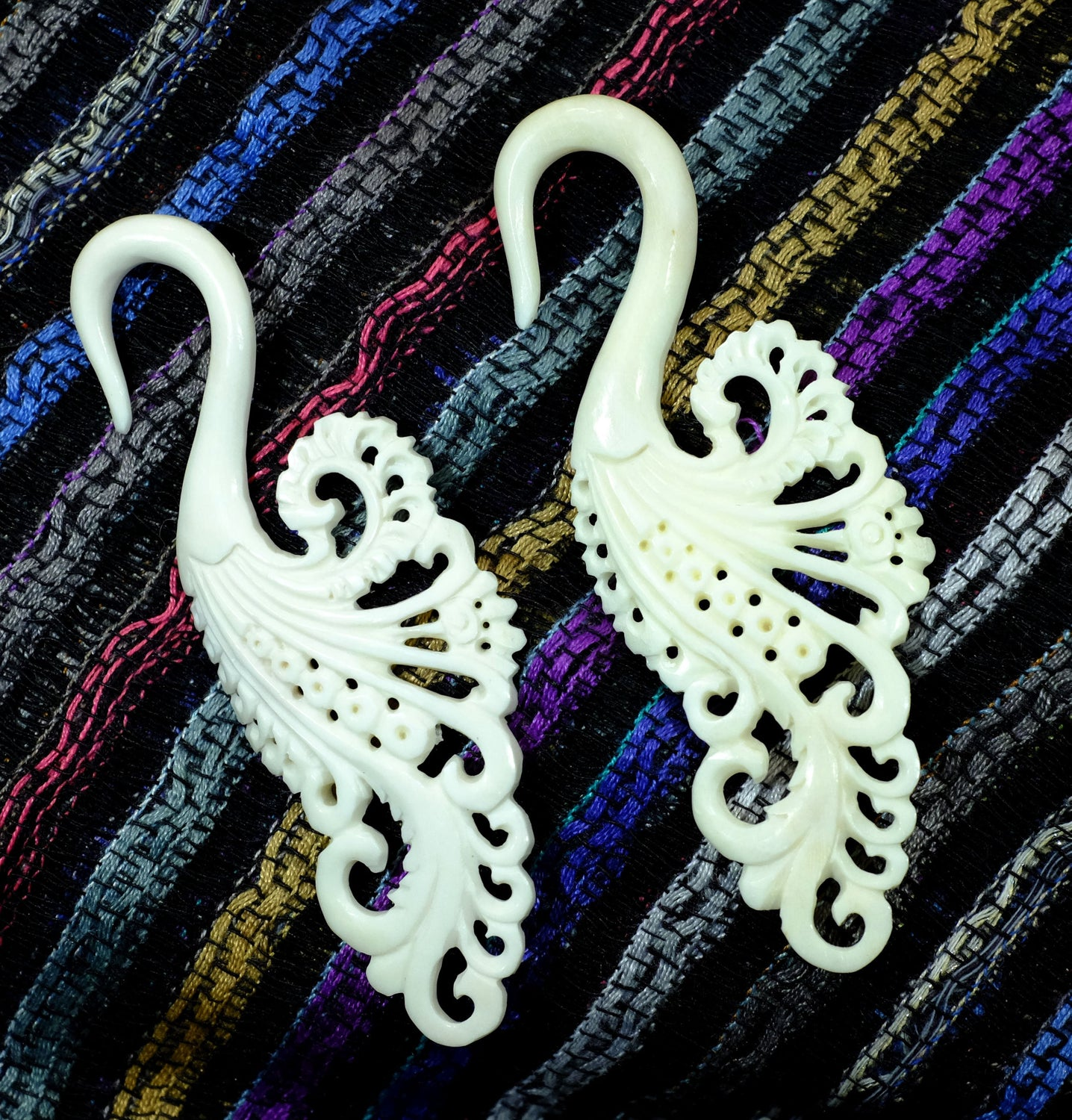 Beautifully Detailed Hand Carved Bone Gauged Earrings. Custom made for us in Indonesia.