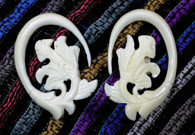 Beautifully Detailed Hand Carved Bone Gauged Earrings