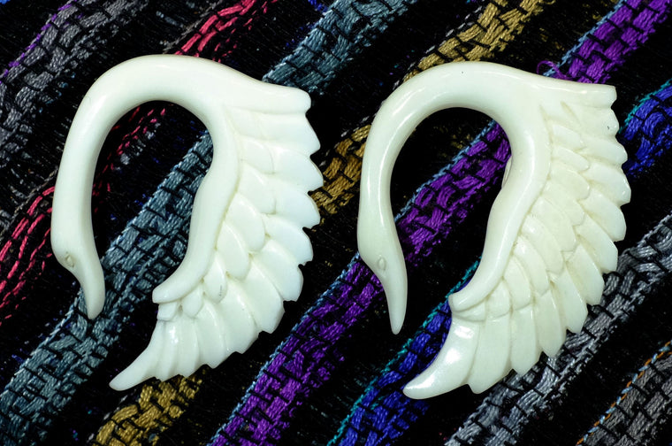 Beautifully Detailed Hand Carved Swan Bone Gauged Earrings