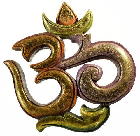 Hand Carved Om w/ gold leafing