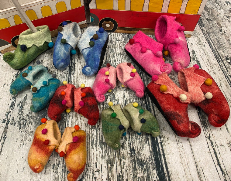 Hand felted Wool Elf Childrens Slippers Shoes - Supports Women in Nepal